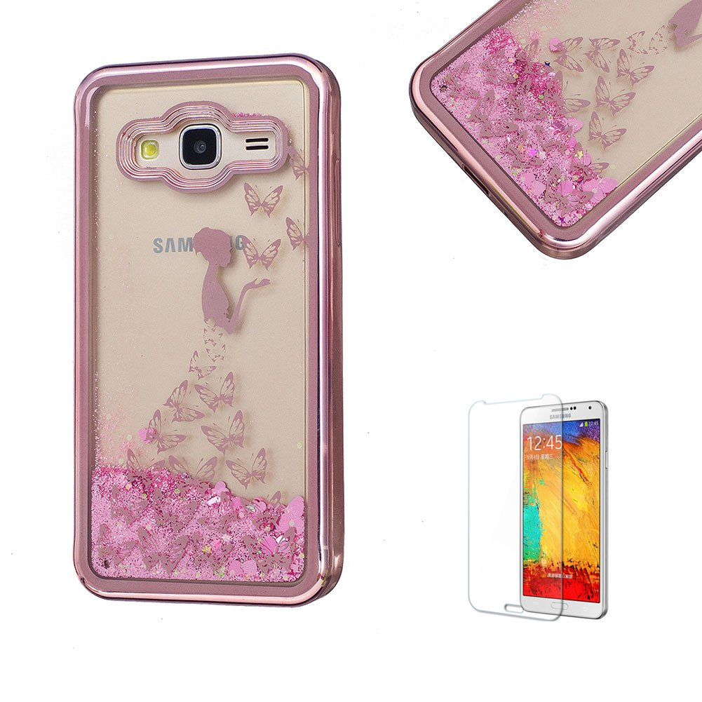 For Samsung Galaxy J3 2016 Case, Funyye Transparent Electroplate Plating Frame +New Creative Floating Water Liquid Small Love Hearts Design Color Change Soft TPU Shock Proof Case for Samsung Galaxy J3 (2016 Model)-Eiffel FUNYYE0026072