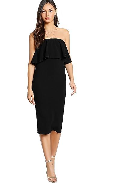 2aa35c3e50a Romwe Women s Ruffle Strapless Bodycon Tube Stretchy Party Dress Black XS