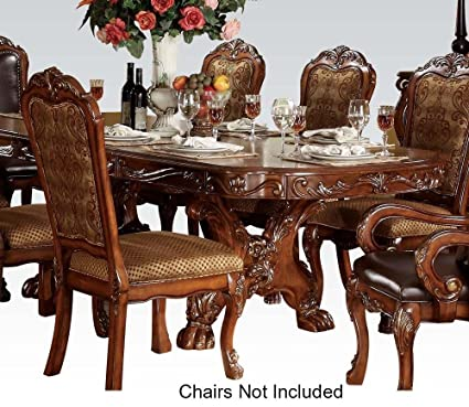 Pedestal Formal Dining Table In Brown Cherry Finish