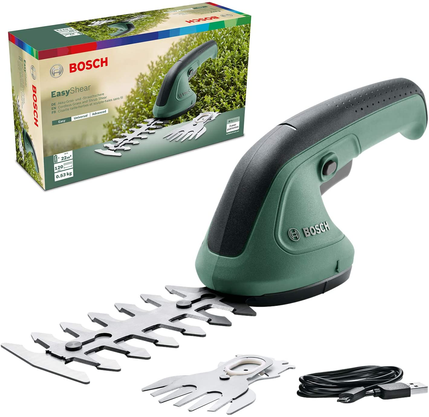 Bosch Home and Garden 0600833300 Tijeras de podar EasyShear de Bosch integrada de 3,6 V, duración de la batería: 40 min, Longitud de la Cuchilla: 12 cm (arbusto) / 8 cm (Gras), en Caja de cartón