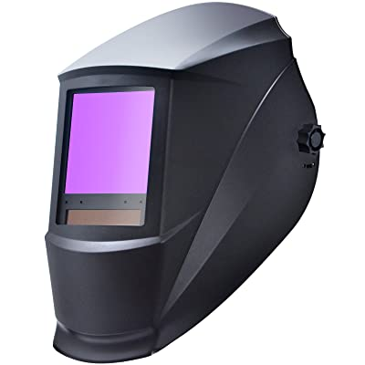 "Antra AH7-860-0000 Auto Darkening Welding Helmet Huge Viewing Size 3.86X3.5"" Wide Shade Range 4/5-9/9-13 Great for TIG MIG/MAG MMA Plasma, Grinding, Solar-Lithium Dual Power, 6+1 Extra lens covers: Industrial & Scientific"