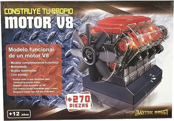 Outletdelocio. Maqueta Motor V8. Motorizado, Completamente Funcional. con Luz y Sonido. Kit de Montaje de 270 Piezas: Amazon.es: Juguetes y juegos