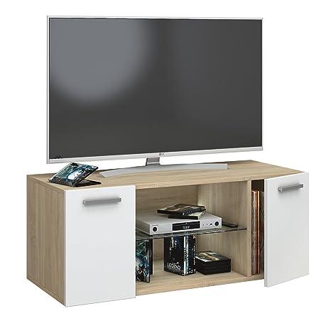 VCM Jusa 95 Mobile TV, Legno, Quercia Sonoma/Bianco, 40 x 95 x 36 cm ...