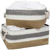 HomeStorie® Eco-Friendly Cloth Storage Basket Bin Organizer with Lid (Drawstring Closure), Set of 2