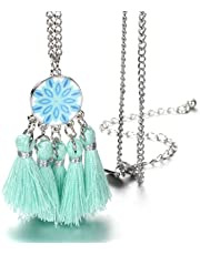 Onnea Blue Tassels Pendant Necklace Jewellery for Baby and Girls