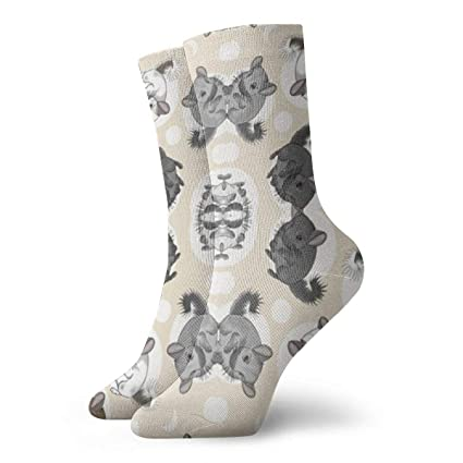 1f390cba26f9f Small Tan Chinchillas and Moon Dots Womens Mens Printed Funny Novelty  Casual Cotton Crew Socks,