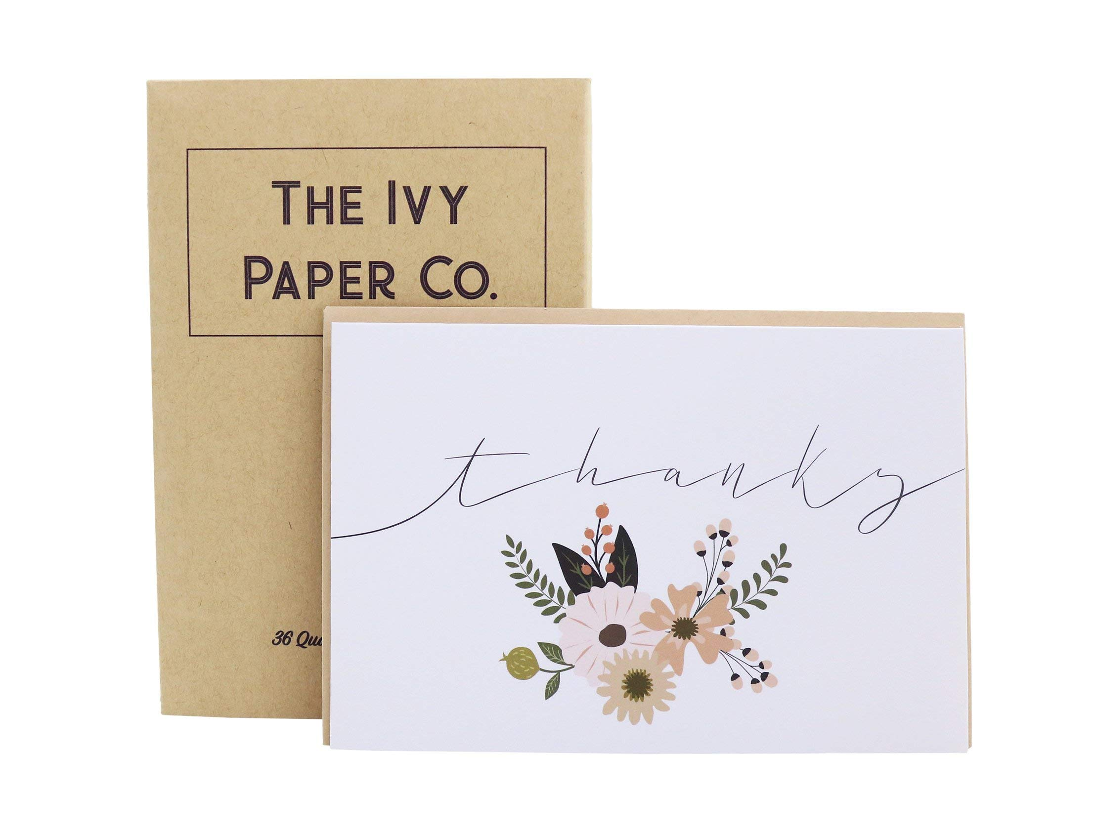 Ivy Paper Co Modern Floral Thank You Cards with Kraft Envelopes | Beautiful Flower Thank You Notes | Set of 36 Bulk Box | Perfect for Any Occasion | Simple 4X6Inch Quality Greeting Card Blank Inside