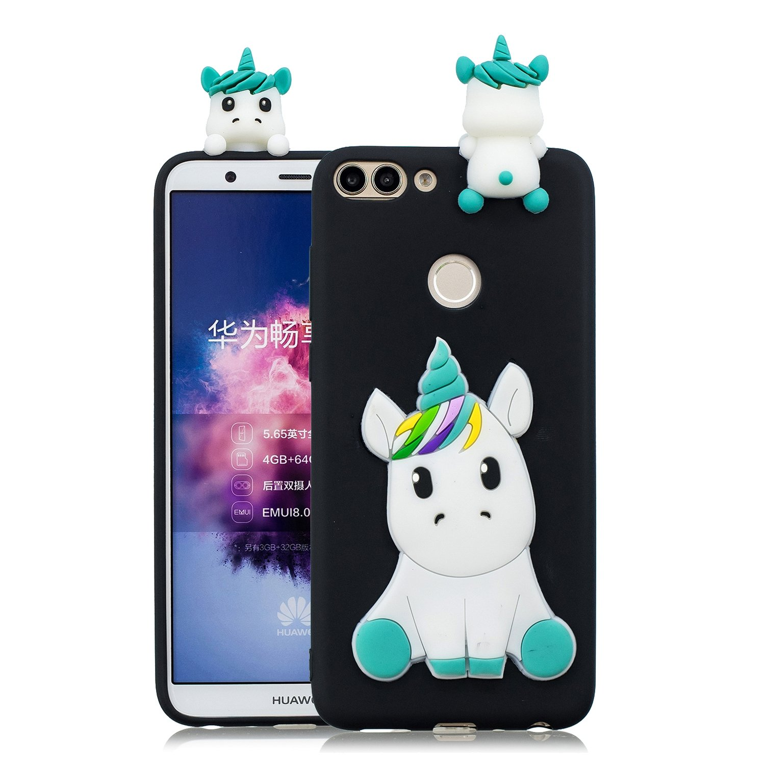 HopMore Coque Huawei P Smart Silicone Souple 3D Design Motif Drôle Mignonne Etui Huawei P Smart Étui Antichoc Ultra Mince Fine Gel Bumper Slim Case Housse Protection pour Fille Femme - Panda Blue