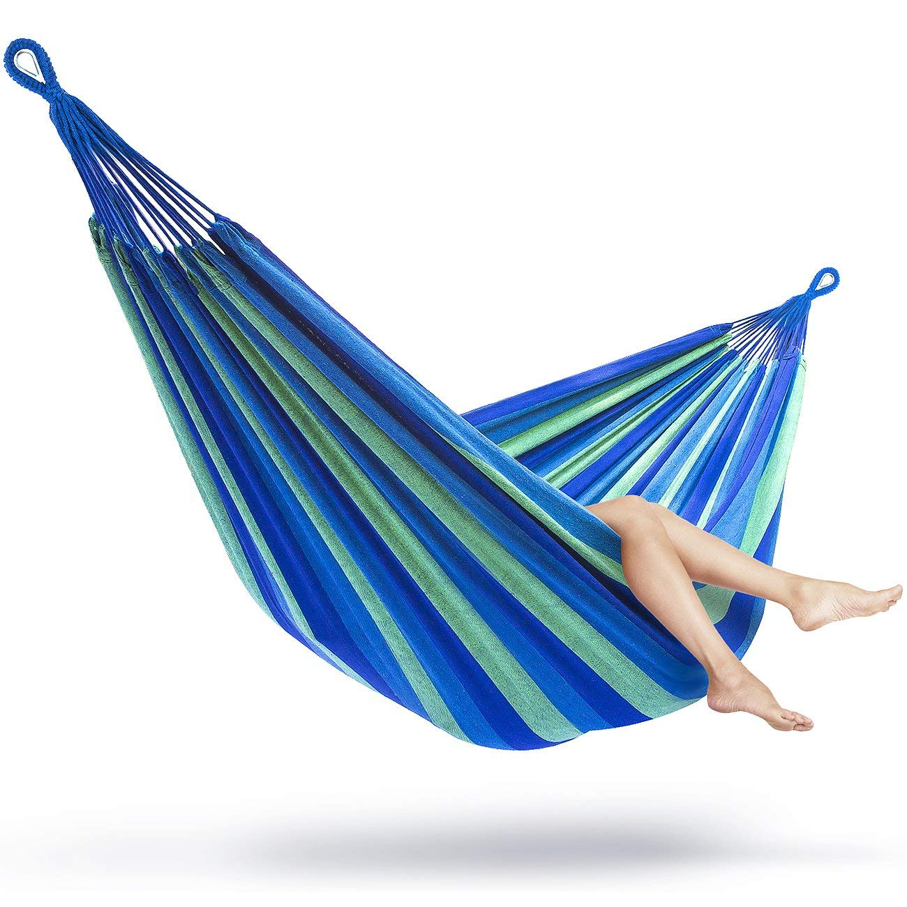 Indoor Outdoor Hammock w Steel Reinforced Loops & Suspension Straps w carabiners for Easy Hanging. Max Weight 250. Lagoon - Blue Green Turquoise Vibrant Beautiful Color Pallet