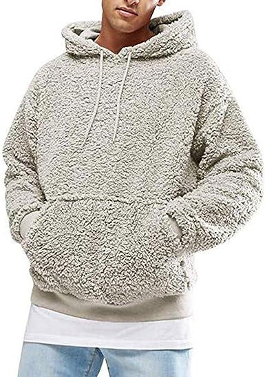 Mens Winter Hoodie Sweatshirt Fleece Coat Jumper Hooded Pullover Tops Outwear UK