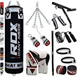 RDX Sac de frappe rempli de Set Kickboxing et MMA Muay Thai Chaîne en acier avec support mural Gants d'entraînement pour sports de combat difficile Punch d'accueil Poids 4ft 5Ft punching-ball Bag