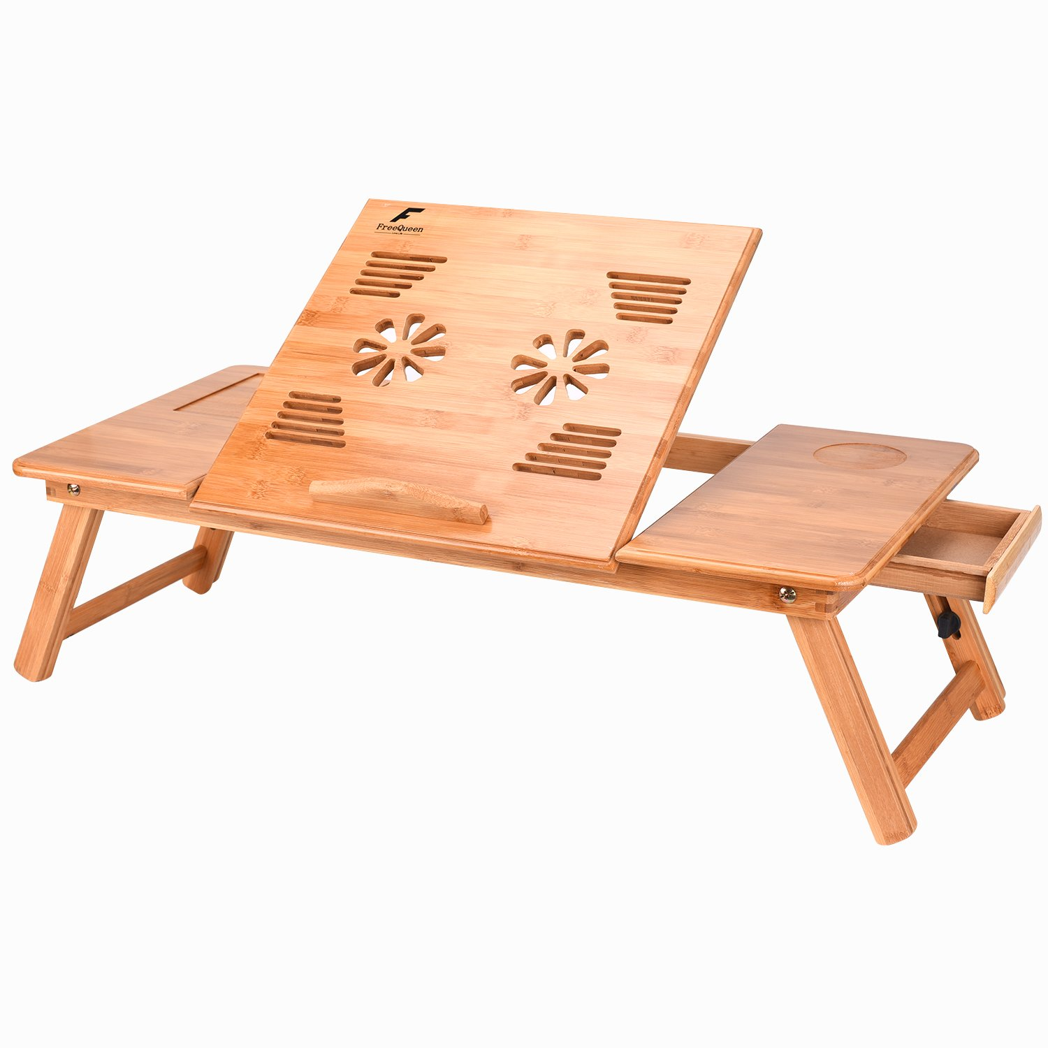 FreeQueen Lengthened Bamboo Laptop Desk Wood Tray Multi-use Breakfast Table Serving Bed Tray Book Stand with Adjustable Tilting Drawers