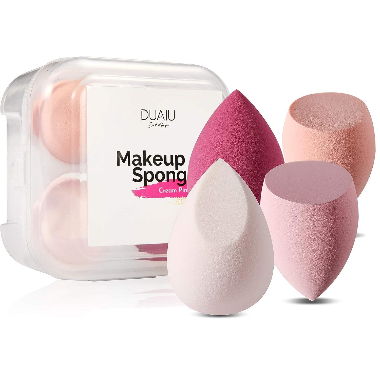 DUAIU 4 Pcs Makeup Sponge Set Blender Beauty Foundation Blending Sponge, Flawless for Liquid, Cream, and Powder, Multi-colored Makeup Sponges with Storage Box