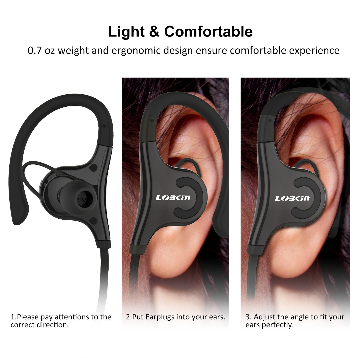 Bluetooth Headphones, Lobkin Wireless Headset Bluetooth V4.1 Stereo In Ear Earbuds Noise Cancelling Headphones Sweatproof Sports Earphones with Mic (Black)