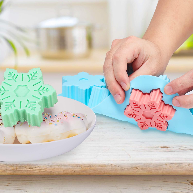 Senbowe Silicone Donuts Baking Mold- Set of 4 | Silicone Cake Baking Molds,| Round Doughnut-shape (6) | Flower-shape(6)| Snowflake-shape (6)|Non Stick Baking Molds Set | Oven & Dishwasher Safe by senbowe (Image #4)