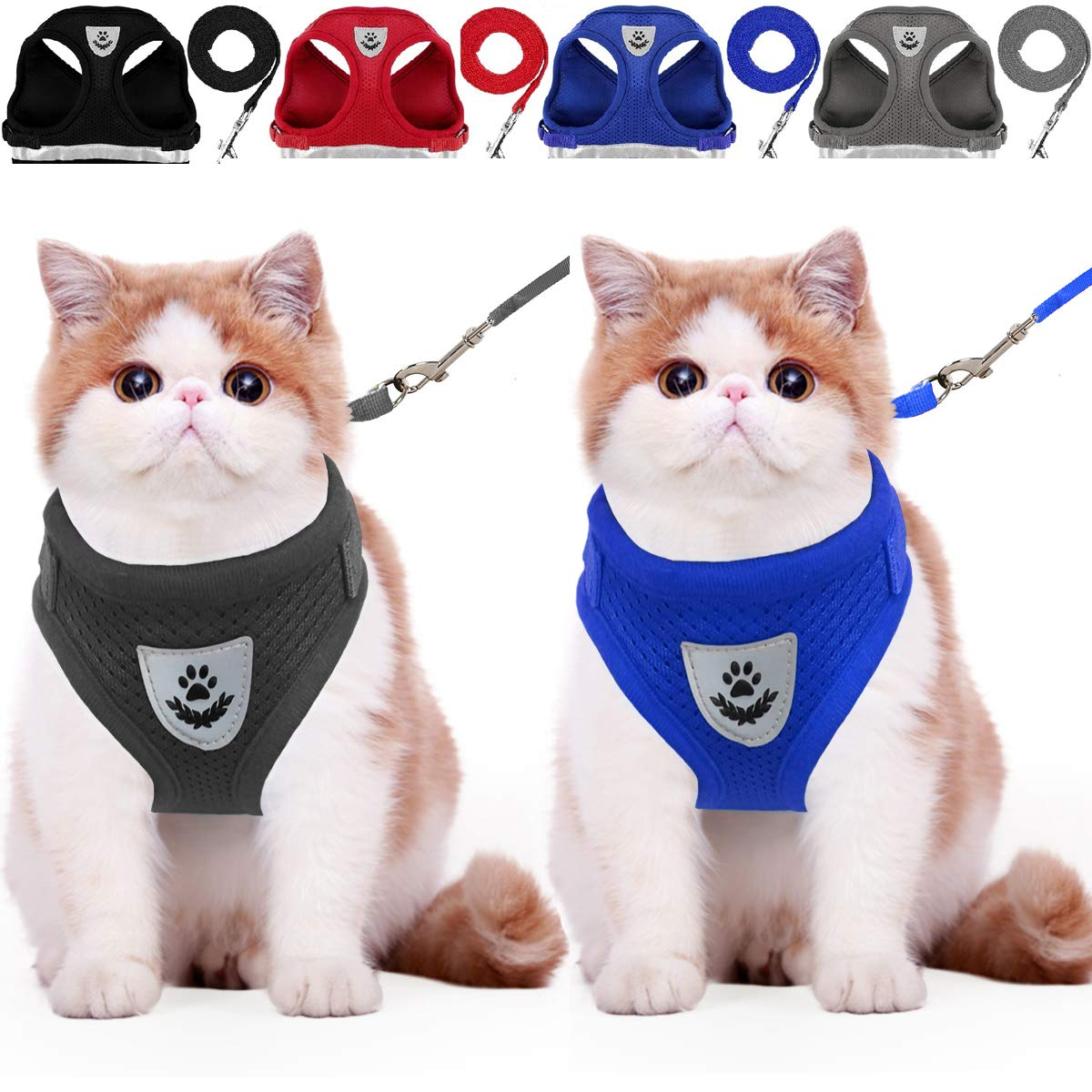 Cat Harness and Leash Dog Harness Walking Adjustable Soft Mesh Pet Vest with Lead Re-adjustable Pet Leash with Reflective Material and Metal Button Suit for Most Sizes of Pet (Black-Blue, M)