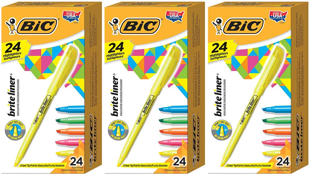 BIC Brite Liner Highlighter, Chisel Tip, Assorted Colors, 24 Count (3 Boxes) by BIC