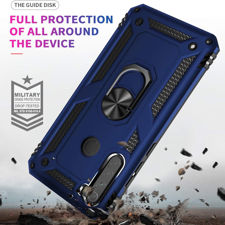 Pegoo Coque Xiaomi Redmi Note 8T Bleu fonc/é Housse Silicone Antichoc Armure Protection Housse Coque Etui avec Support Cover Case pour Xiaomi Redmi Note 8T