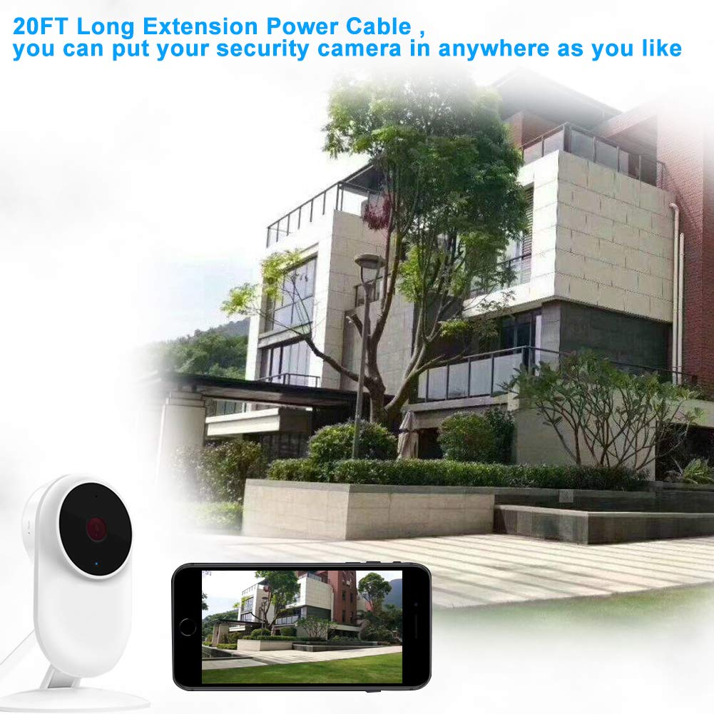 20FT Flat Power Extension Cable for Wyze Cam Pan,WyzeCam,Kasa Cam,YI Dome Home Camera,Furbo Dog,Nest Cam,Oculus Go,Blink,IP Cloud Camera,KasaCam Indoor,Netvue,PS4,Micro USB Charging Charger Cord