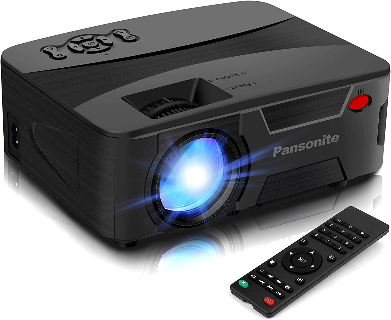 Pansonite Mini Projector Portable Projector for Outdoor Movies and Home Theater Support 1080P and Max.200'' Display Compatible with TV Stick,PS4,iPhone,Smartphone,HDMI and USB(Latest Upgrade)