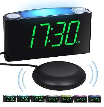 LED Reloj Despertador de Dormitorio Vibrante, Atenuador de 7 Pulgadas, Luz Nocturna de 7 Colores, Volumen Ajustable, Alarmas Duales, 2 Puertos USB ...