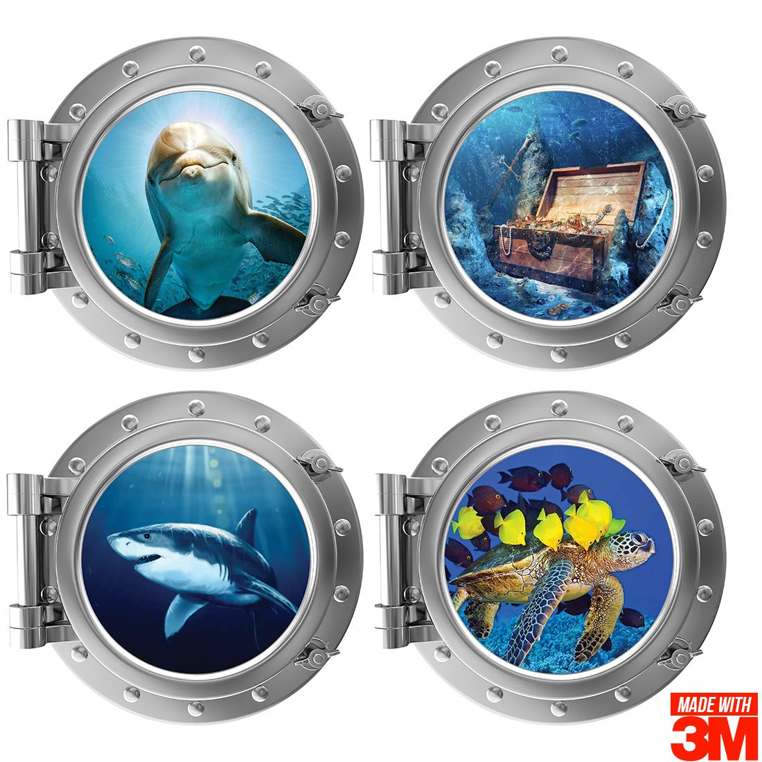"OFISSON - 4 Pieces Bedroom 3D Wall Stickers - Porthole Sea Life Art Sticker 3M for Kids (Girls and Boys) Playroom (12"" Diameter Each)"