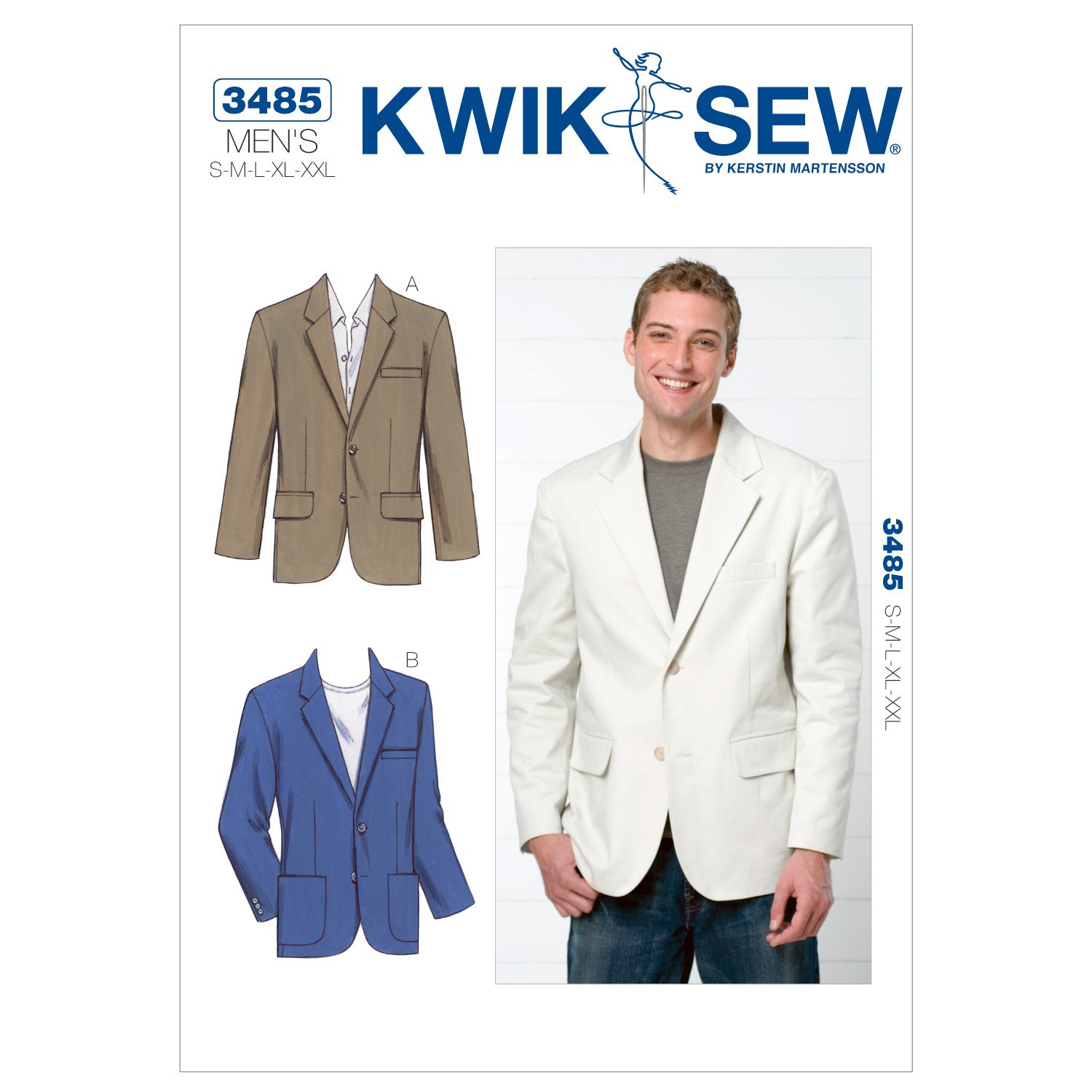 Amazon.com: Kwik Sew K3485 Blazer Sewing Pattern, Size S-M-L-XL-XXL ...