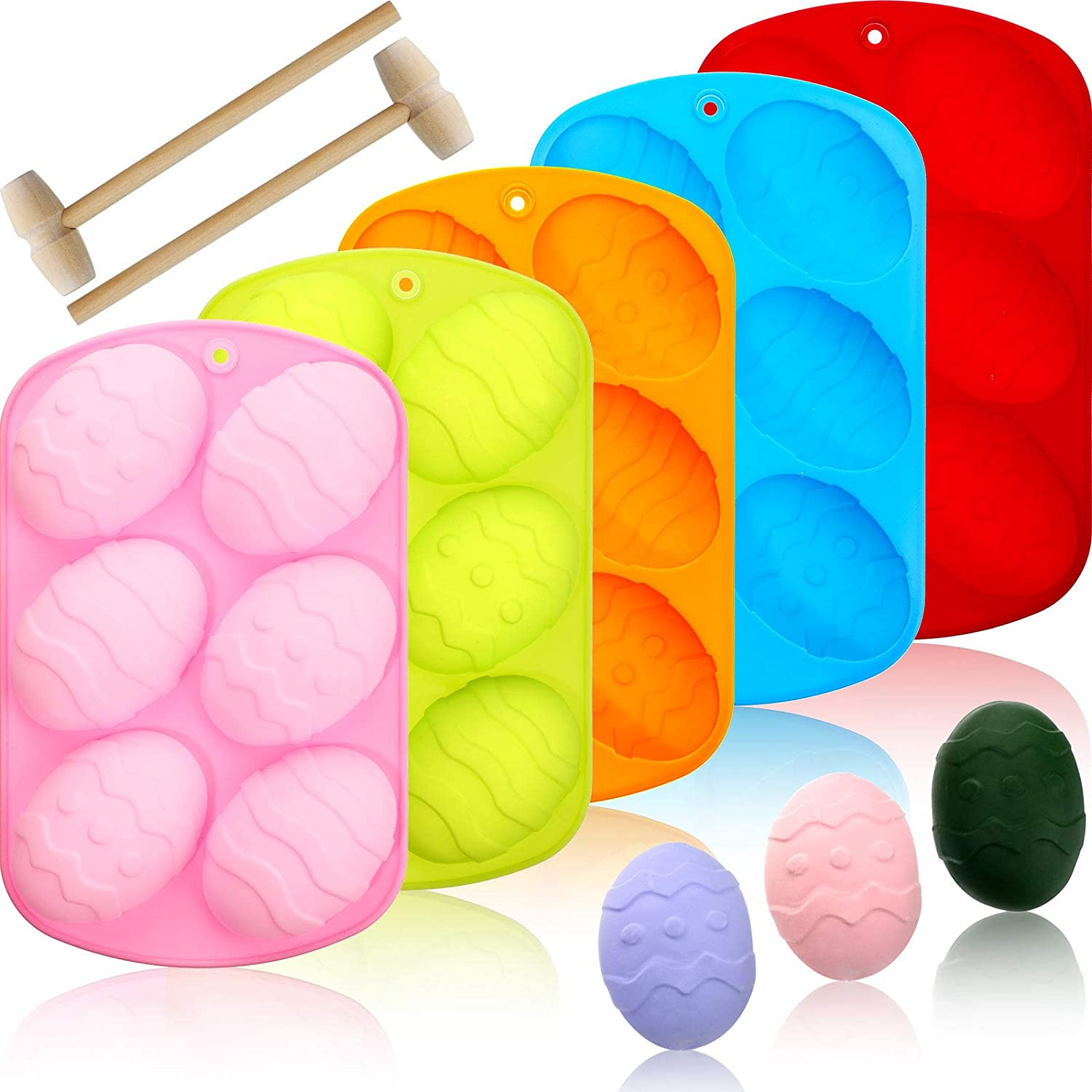 5 Pieces Easter Egg Chocolate Candy Molds Easter Egg Shaped Silicone Cake Molds Silicone Molds Trays with 2 Pieces Wooden Hammer for Candy Chocolate Handmade Soap and Ice Cube Egg Hunt Games Supplies