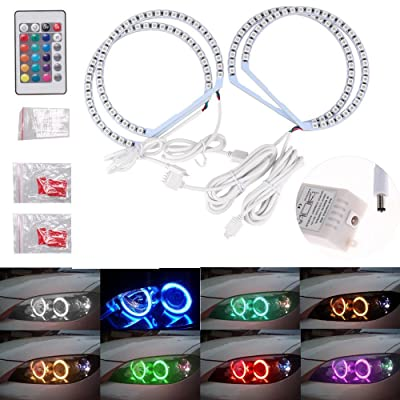 π 4131MM Multi-Color RGB LED Angel Eye Halo Rings Light for BMW E46 E38 E39 3 5 7 Series: Automotive