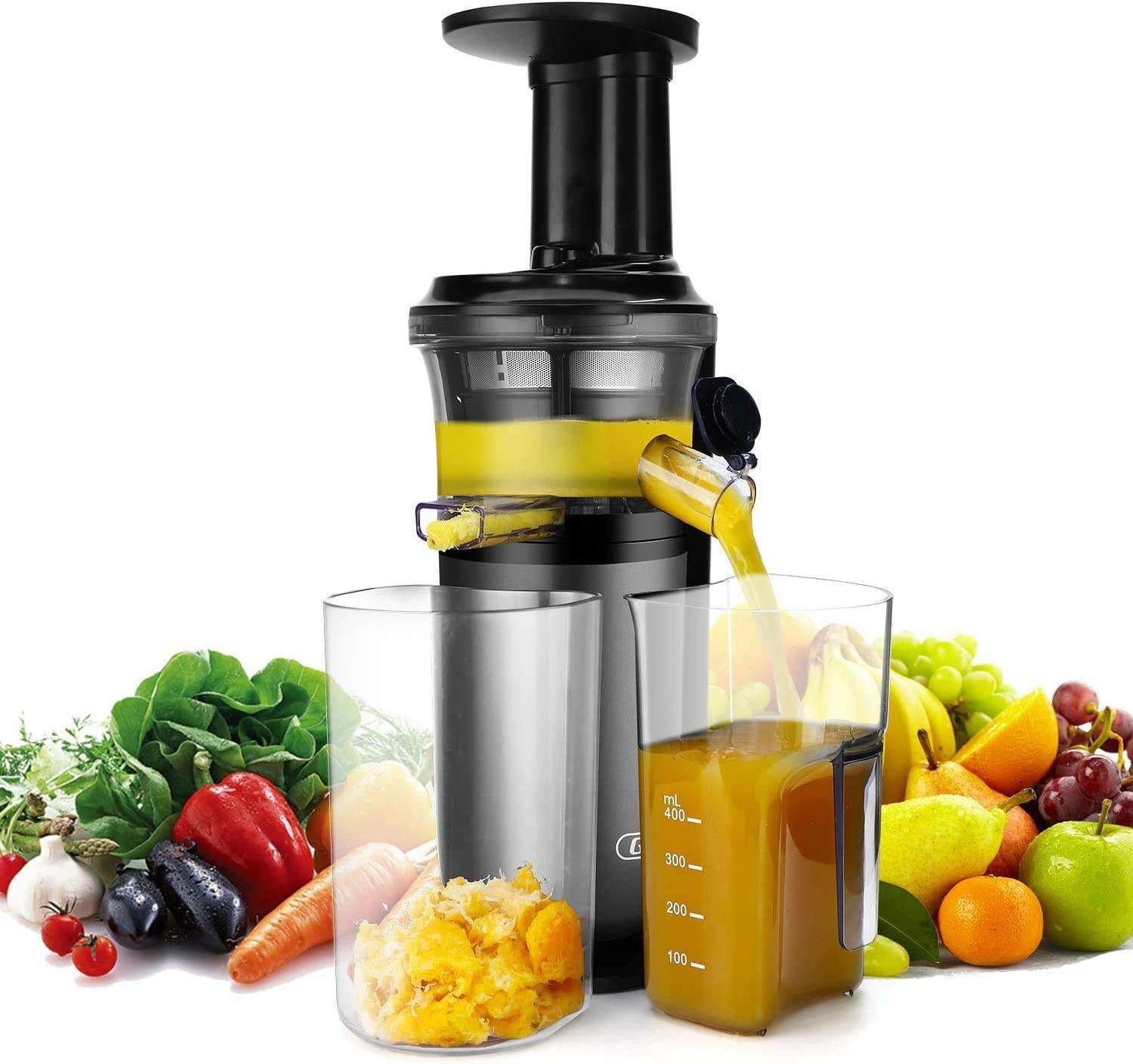 Slow Masticating Juicer with Slow Press Masticating Squeezer Technology for Fruits, Vegetables and Herbs, Slow Juicer with Compact Design and easy to