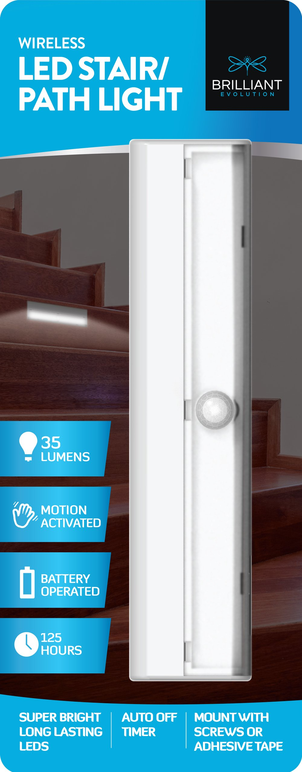 Brilliant Evolution BRRC125 Wireless LED Stair / Path Light With Motion Sensor - Operates On 3 AA Batteries - Perfect For Interior Step , Stairwell And Hallway Lighting