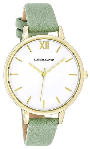 Daniel David - Reloj de Pulsera para Mujer, Moderno, Dorado, con Correa de Piel sintética, Color Verde: Amazon.es: Relojes