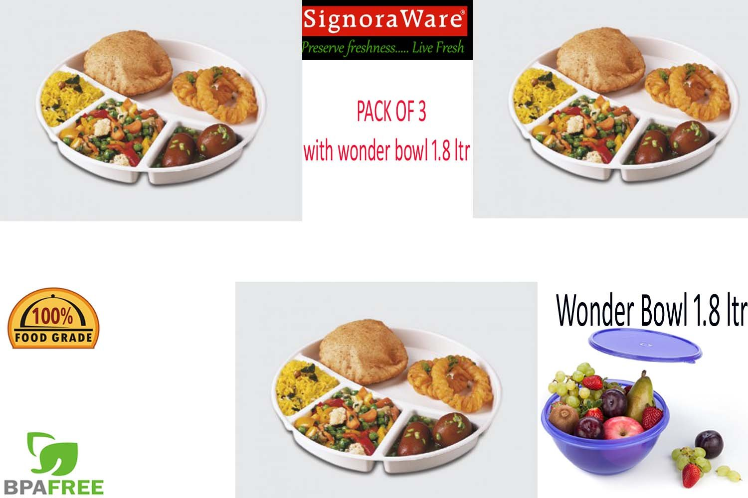 Buy Signoraware Round Serving Thali White Pack Of 3 With 1 Pc Signora Wonder Cooker Pcwonder Bowl 18 Ltr Online At Low Prices In India