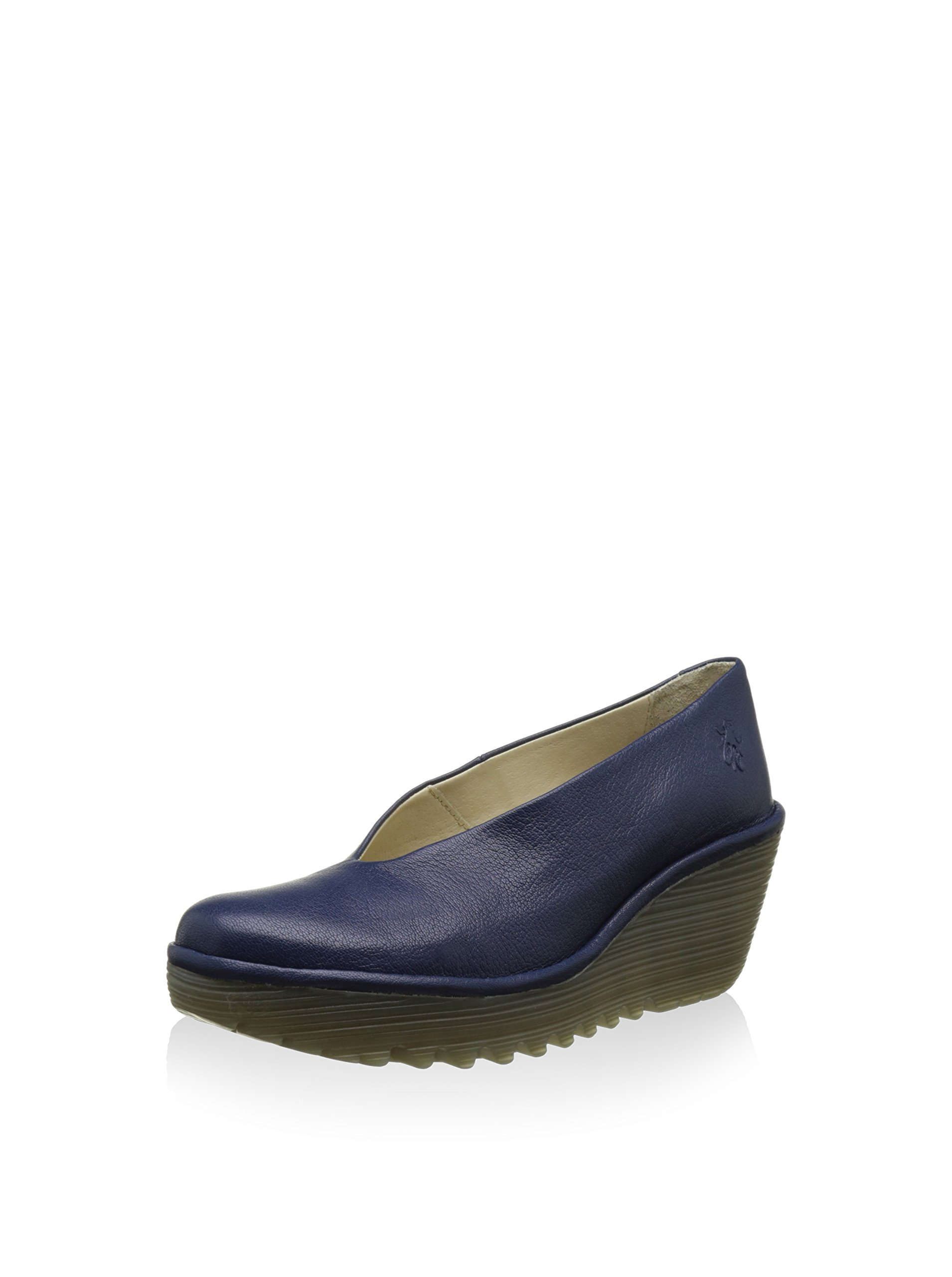 Womens Fly London Yaz Mousse Summer Leather Casual Work Shoes Wedge Heel - Blue - 10