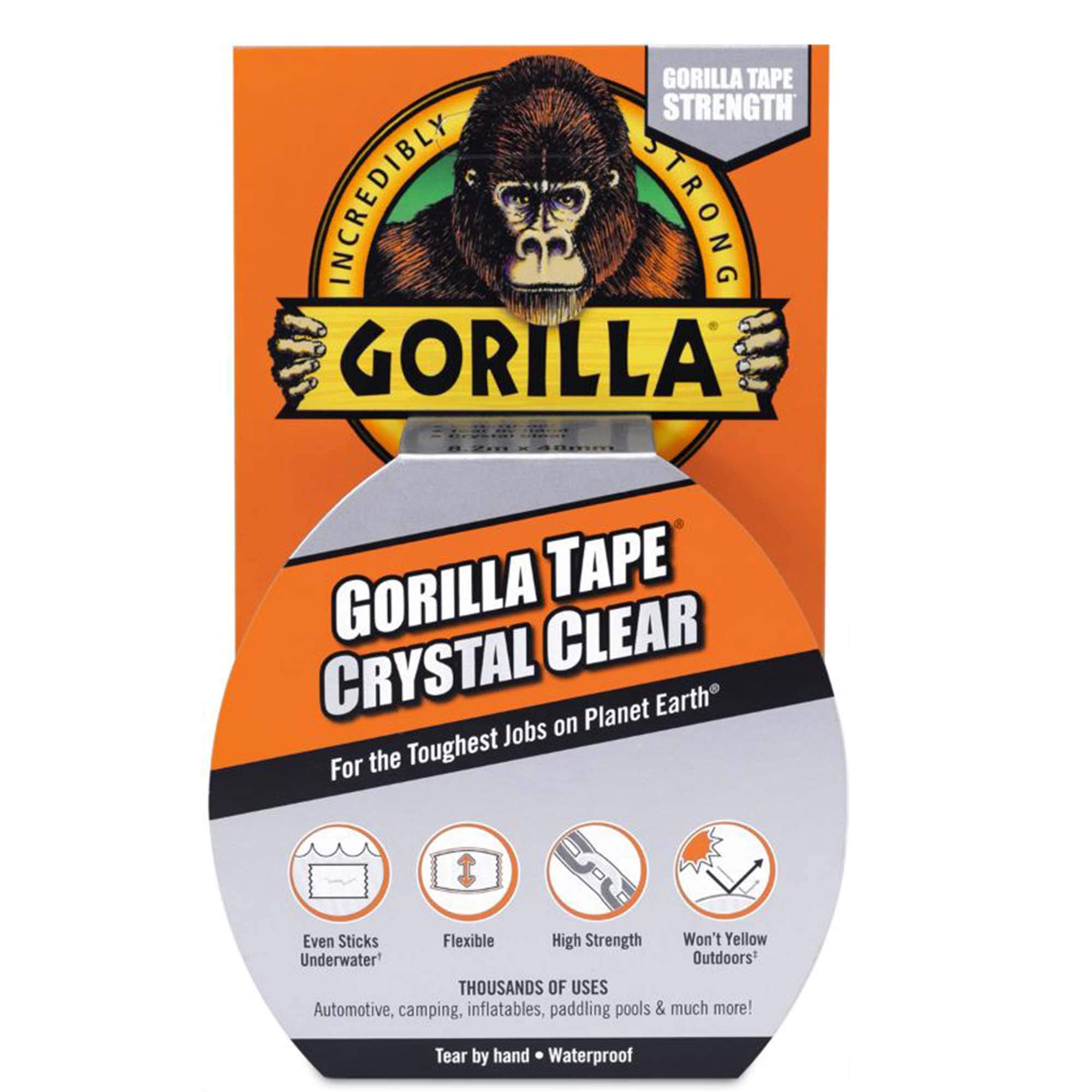 "Gorilla Crystal Clear Duct Tape, 1.88"" x 9 yd, Clear, (Pack of 1) - 6027002"