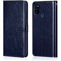 WOW Imagine Galaxy M30s Flip Case Leather Finish | Inside TPU with Card Pockets | Wallet Stand | Shock Proof | Magnetic Closure | 360 Degree Complete Protection Flip Cover for Galaxy M30s - Blue