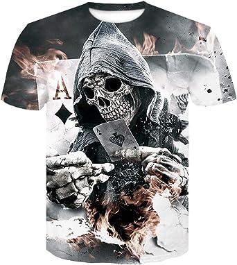 Camisetas Camisa con Estampado Digital De Calavera De Media ...