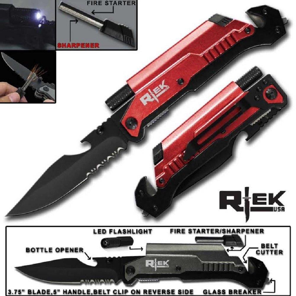 9'' Tactical Assisted Open Red Survival 7 in 1 Rescue Pocket Knife LED Light Fire Starter Blade Sharpener Bottle Opener
