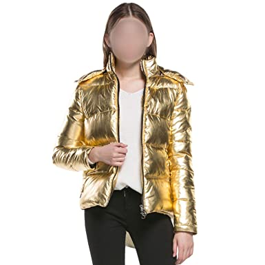 Amazon.com: be-my-guest Women Winter Jackets Short Warm Coat Gold Metal Color Ladies Parka winterjas Dames Abrigos invierno: Clothing