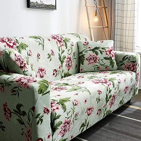 D&LE Funda de sofá Cubre 1 2 3 4 Plazas Color Puro Felpa Protector de sofá Terciopelo Fácil Ajuste elástico Tela Stretch Protector para sofás-B 1 ...