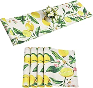 Alishomtll Lemon Table Runner with 4 Placemats Spring Table Runner Set Yellow and Green Printed Flower Table Mats Set for Summer, Party, Kitchen, 14