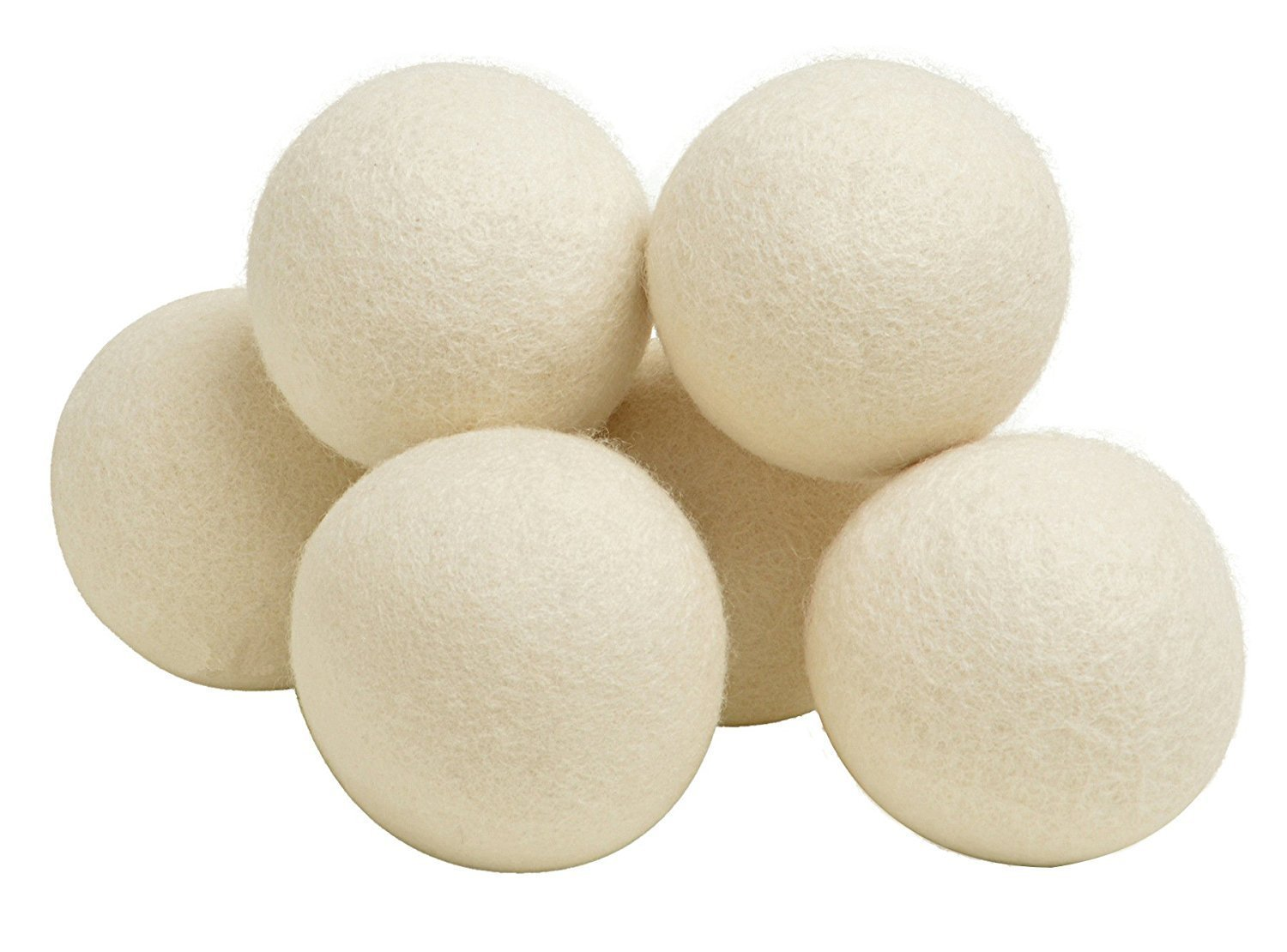 1Pack(6pcs) Wool Dryer Balls- Natural Fabric Reusable, Reduce Wrinkles, Saves Drying Time Anti Static Large Felted Wool Clothes Dryer Balls a Better Alternative to Plastic Balls