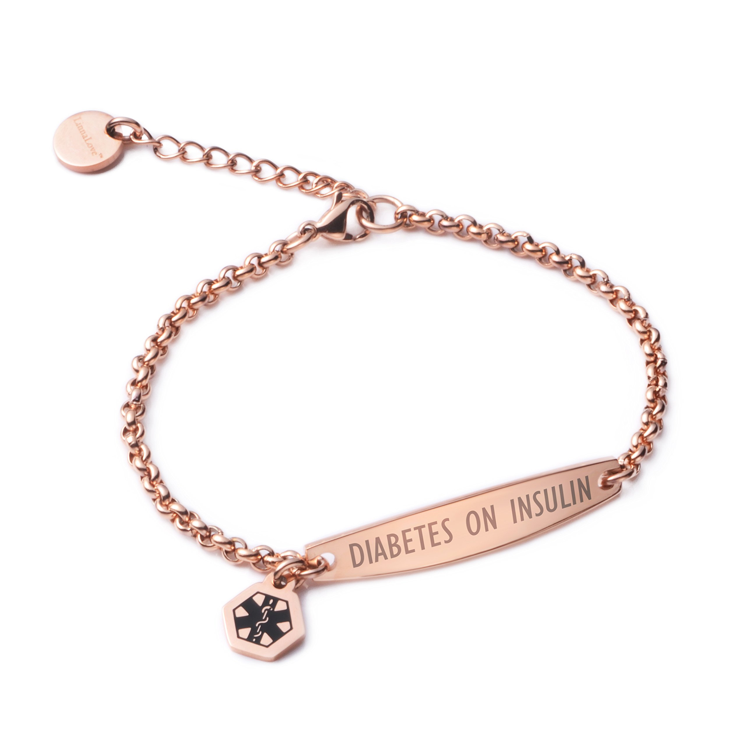 LinnaLove-Pre-engraved DIABETES ON INSULIN Rose Gold Simple Rolo chain Medical id bracelet for Women & girl