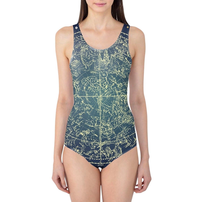 Stars Constellations Map Women's Swimsuit Badeanzug XS-3XL