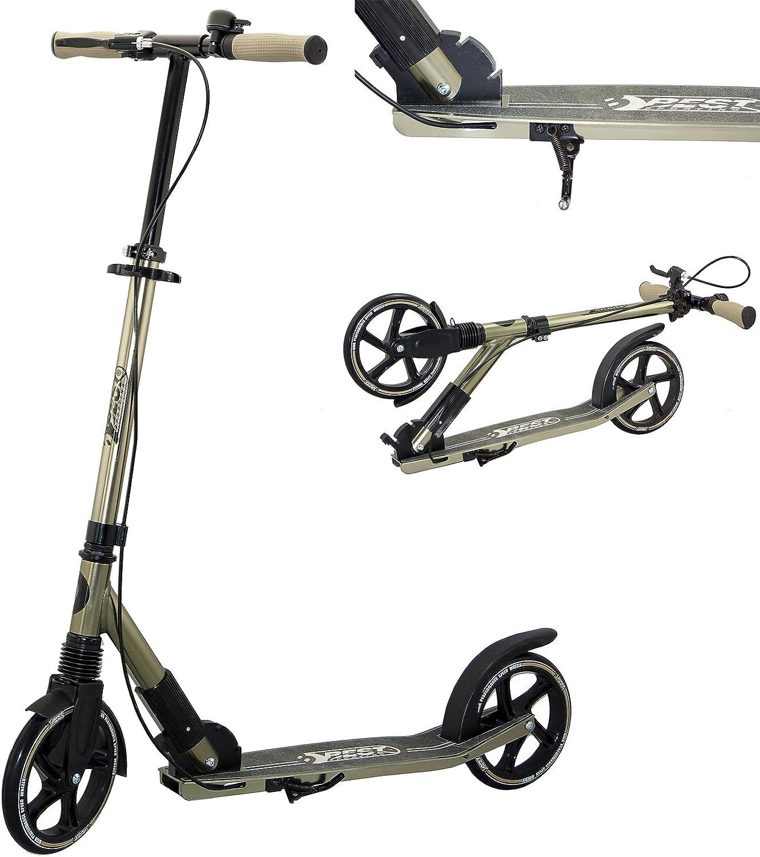 Best Sporting, Big Wheel 205Scooter High Class, City Roller con Manillar ergonómico, Freno a Mano y Timbre, (Negro/Dorado