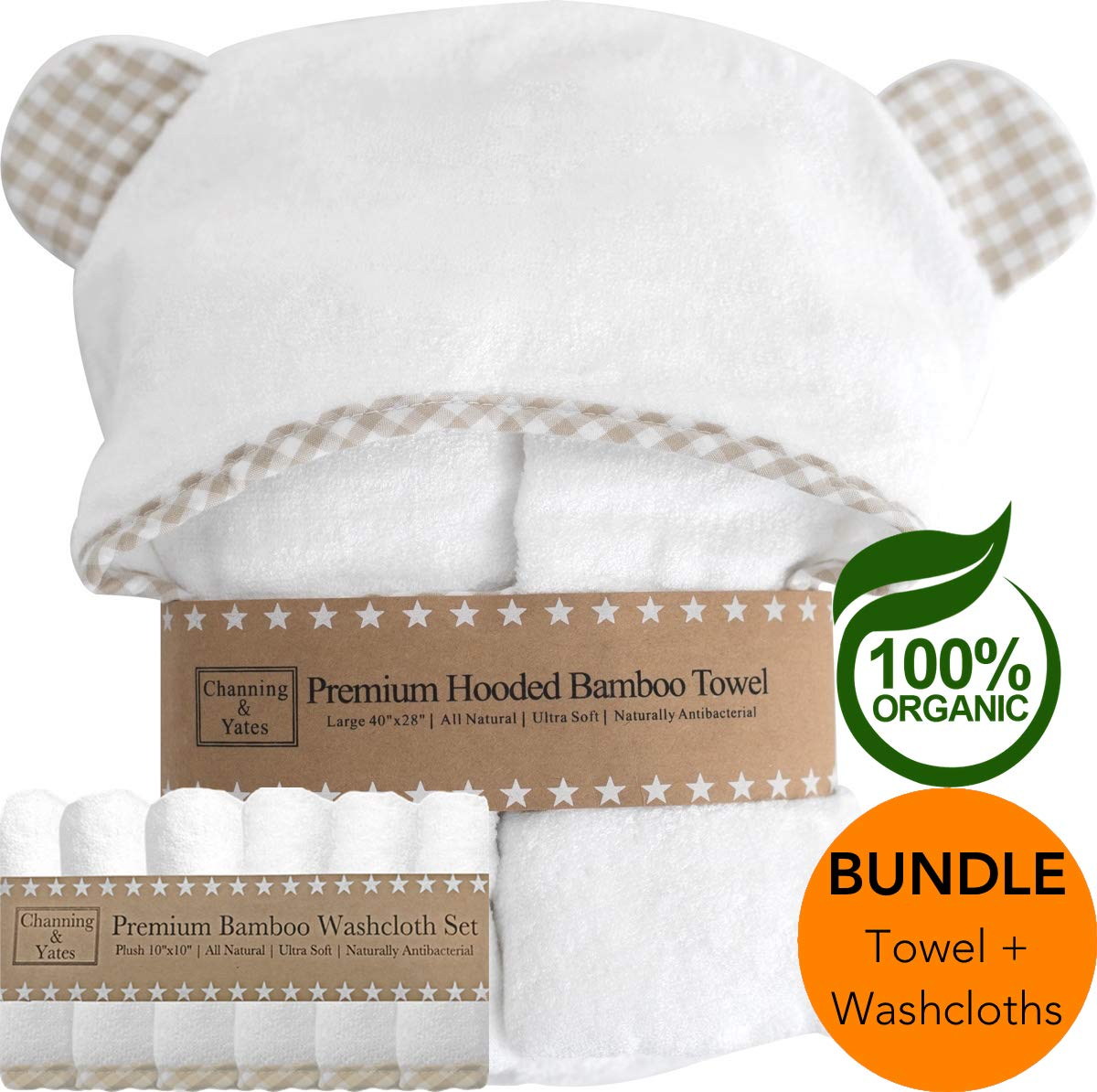 Premium Hooded Baby Towel + (6 Piece) Washcloth Gift Bundle - Organic Bamboo Baby Towels - Thick & Soft - Baby Towel and 6 Washcloth Baby Shower Gift Set - (Unisex Beige Gingham Bundle) by Channing & Yates