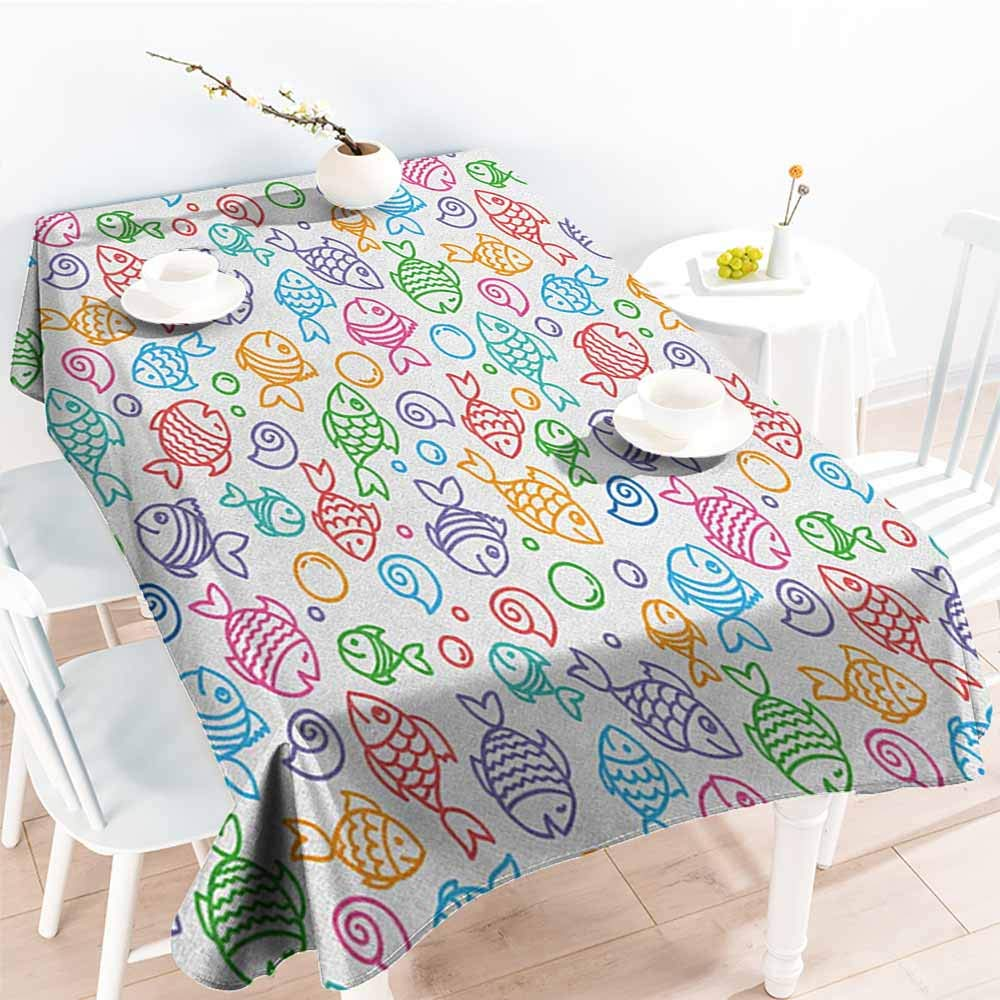 familytaste Kids,Waterproof tablecloths Colorful Doodle Style Fish Figures with Happy Faces and Bubbles Under The Sea Aquarium 70''x 102'' Waterproof Table Cover for Kitchen