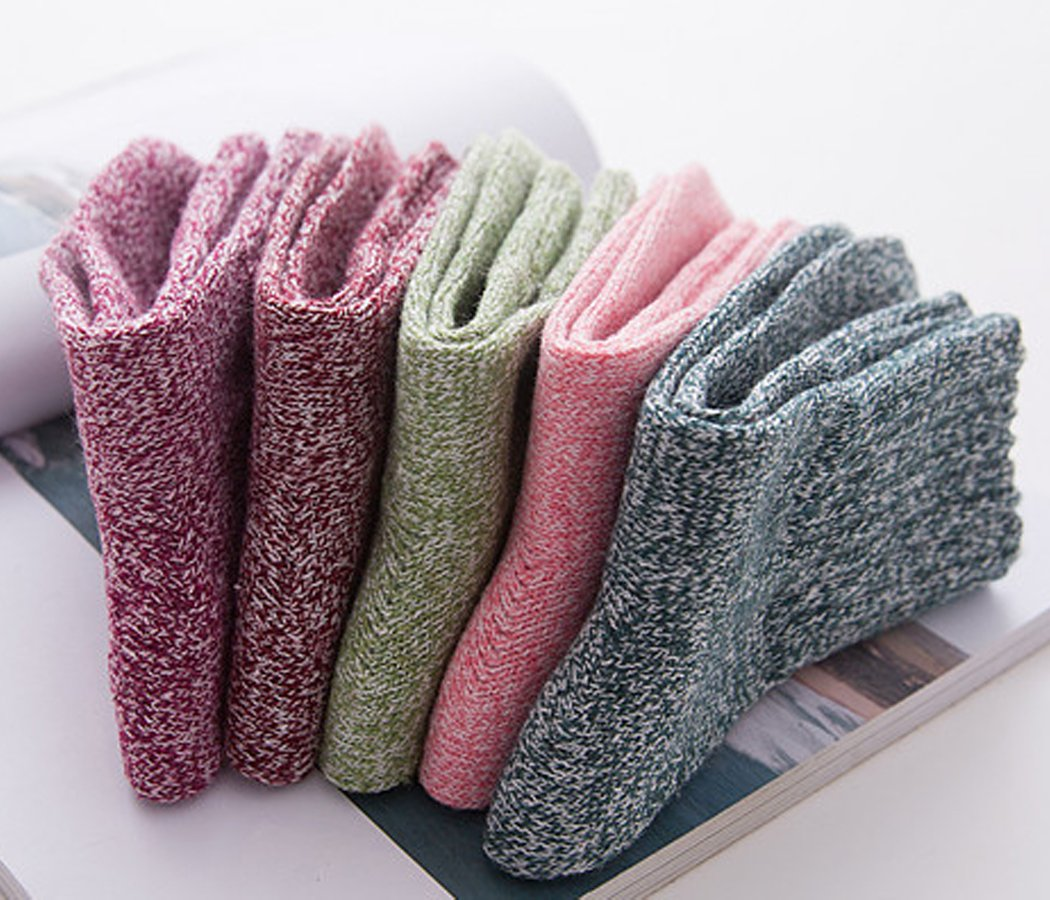 Yuhan Pretty 5 Pairs Womens Winter Warm Thick Knit Wool Cozy Vintage Crew Socks (Style 2, 5PCS) by Yuhan Pretty (Image #4)