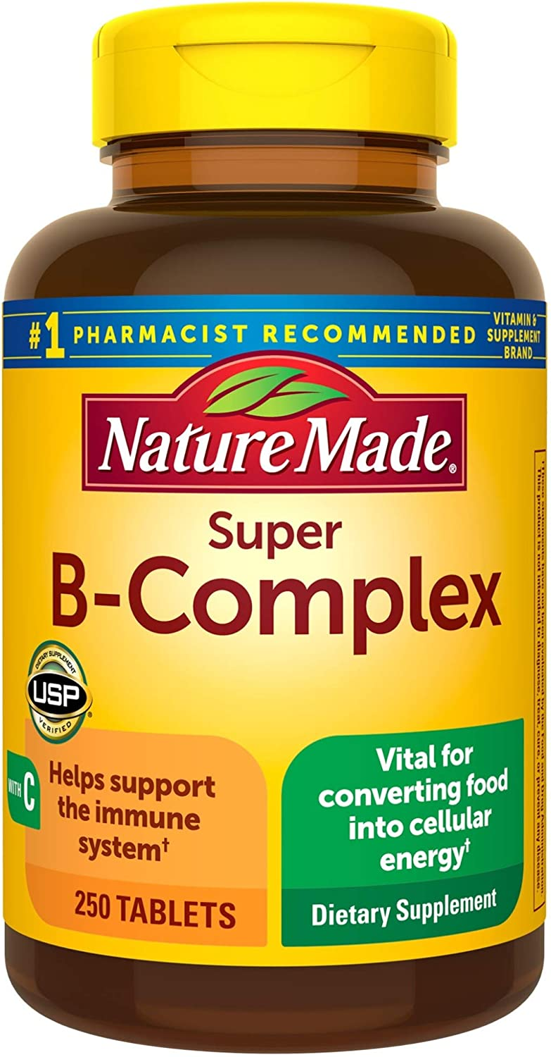 Nature Made Super B-Complex Tablets with Vitamin C and Folic Acid, 250 Count for Metabolic Health