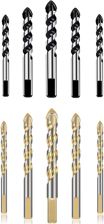 hormig/ón madera y pl/ástico ladrillo brocas para metal 6//6//8//10//12mm 10 piezas brocas de mamposter/ía con punta de carburo de tungsten para azulejos